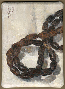 'Wooden Beads' Alla Prima ACEO Oil painting Still Life