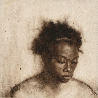 Painting of Black Woman with Afro in brown oil paint on canvas by Jacqueline Gomez