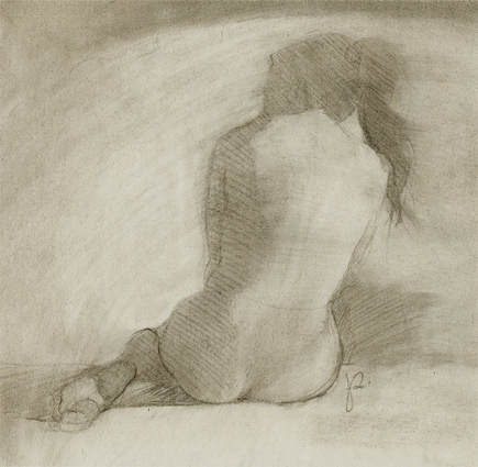 Soft atmospheric nude figure drawing with vine charcoal by Jacqueline Gomez