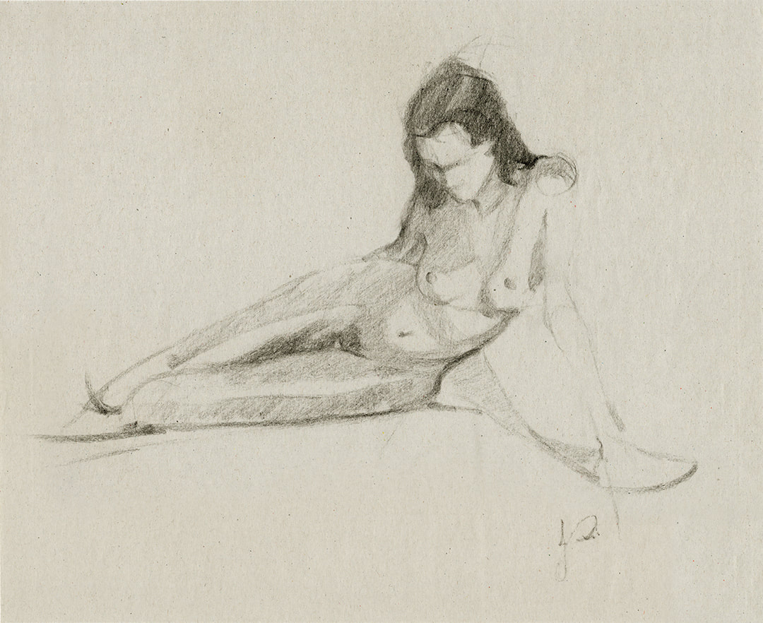 Nude Figure Charcoal Drawing of Woman by Jacqueline Gomez