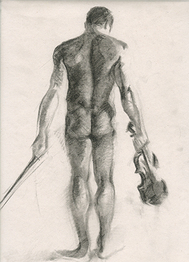 Charcoal Drawing Sketch of Nude Man, Male Figure