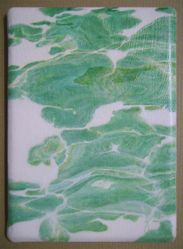 'Reflections' ACEO a conceptual oil painting of reflections / retractions of light in clear sea water in abstracted realism, drawing inspirations from theories of time & space & zen philosophy.