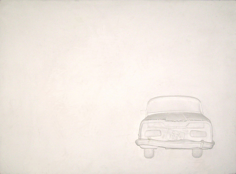 'White Car' Minimalist Print with Classic car inspired by time, quantum theory and zen philosophy