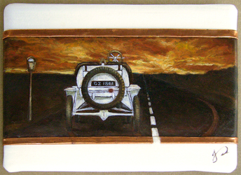 Timeless Chaos ACEO Classic Car Time Oil Painting