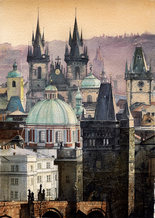 Prague Watercolor Cityscape Painting