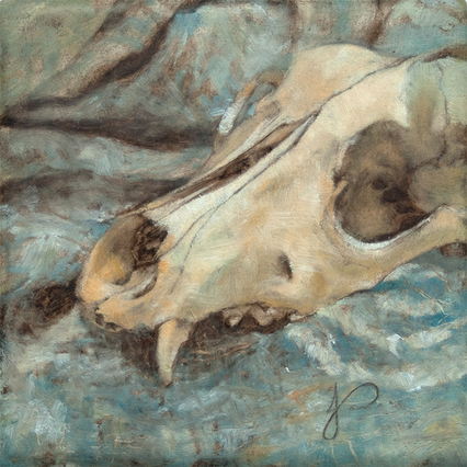 Skull of a Dog Oil Painting with Blue by Jacqueline Gomez