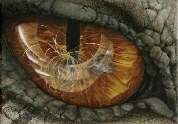 Dragon Eye Reflection of Creation Oil Painting by Jacqueline Gomez