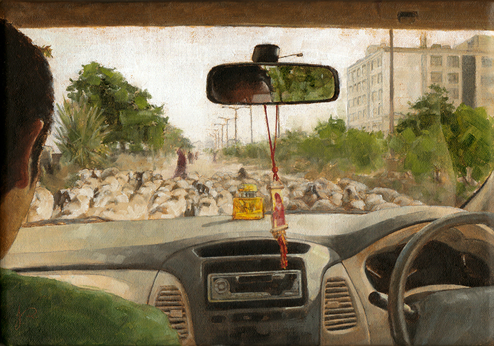 Inside Looking Out in India Oil painting, Car Interior Driving through flock of sheep in rural cityscape.