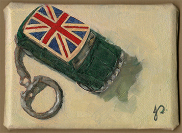 'Mini Jack' Alla Prima ACEO Oil painting Still Life of Mini Copper with Union Jack