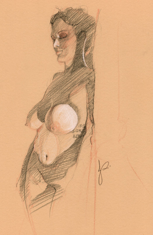 'Honour, Strength, Loyalty' Trois Crayon Female Nude Drawing Standing Woman by Jacqueline Gomez