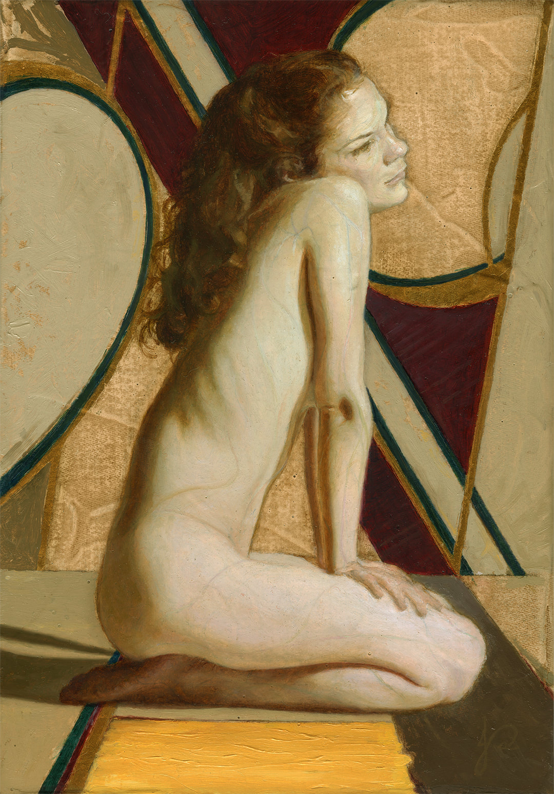 Child of Mars' Gold Gilded Oil painting by Jacqueline Gomez of Nude Female Figurative Artwork