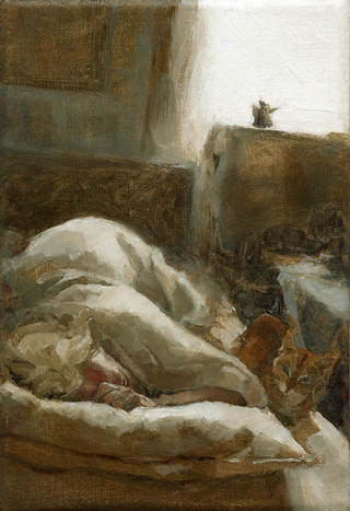 'Morning Visitor' alla prima oil painting by Jacqueline Gomez of dark interior bedroom with cat and woman sleeping lite by window sunlight.