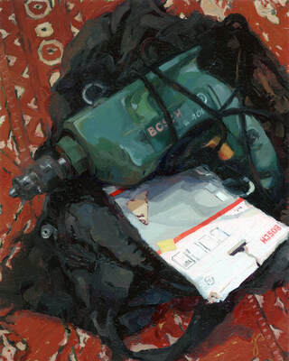 Bosch Power Drill Still Life Oil Painting by Jacqueline Gomez