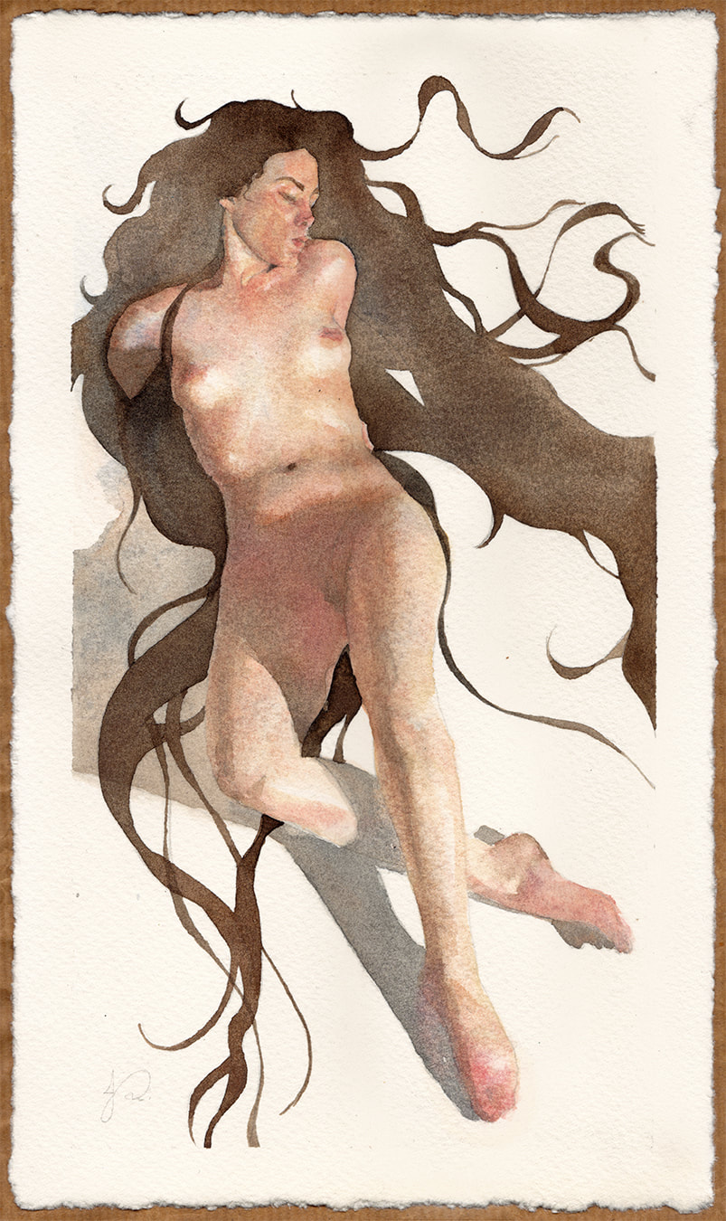 Long Haired Tellurian - Watercolour Figurative Painting of Nude Female Woman by Jacqueline Gomez