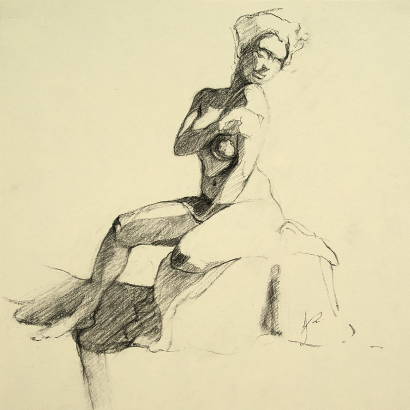 'Maria #01' Charcoal Female Nude Drawing of Woman by Jacqueline Gomez