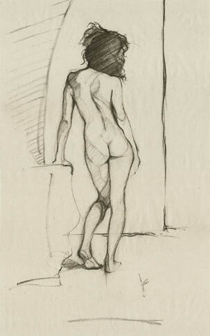 Female Nude Figure Drawing Back View Standing by Jacqueline Gomez