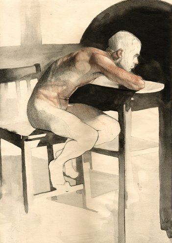 Male Nude Drawing in Sanguine Charcoal and Ink, Abstract Realism by Jacqueline Gomez