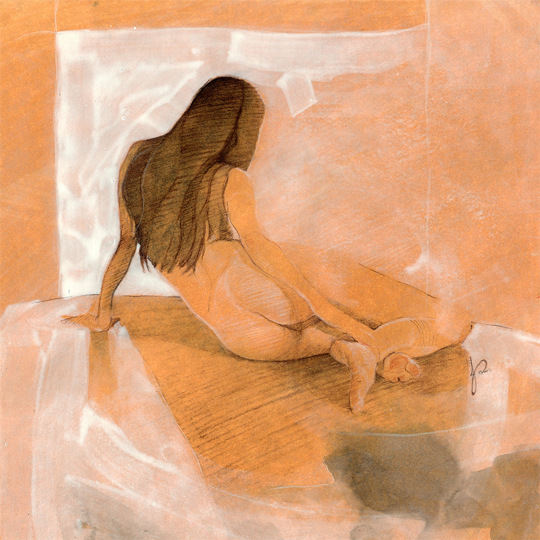 'Tangy Cream' Mixed Media Figurative Drawing in Orangy Cream tones by Jacqueline Gomez