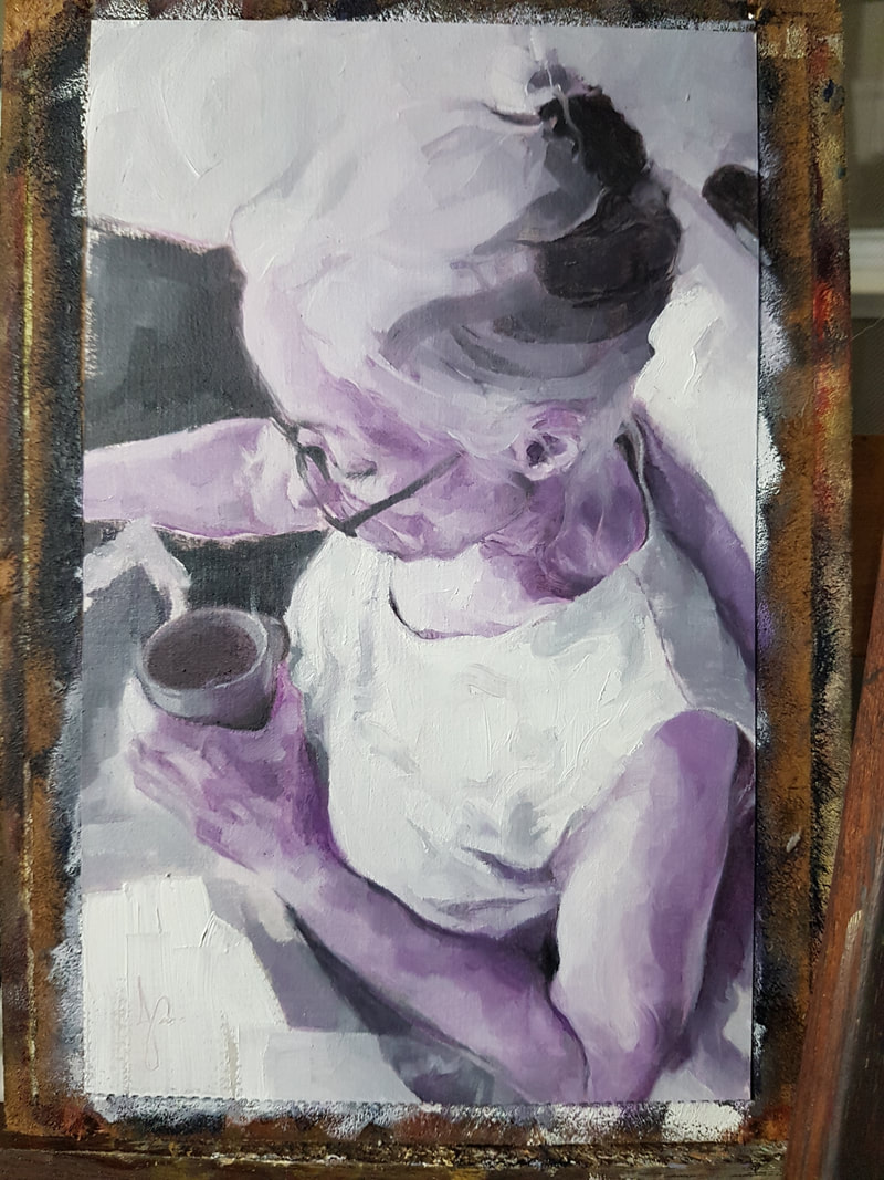 Portrait Painting in Violet and Lamp Black