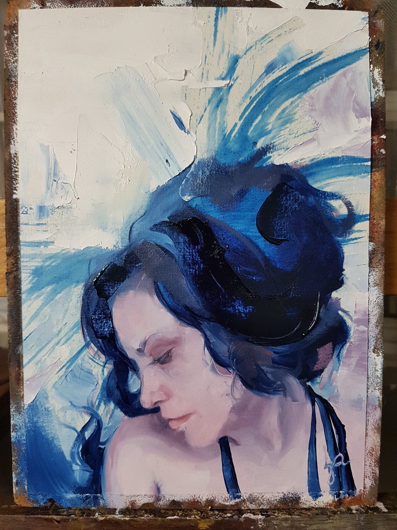 Portrait Painting in Scarlet Lake and Persian Blue
